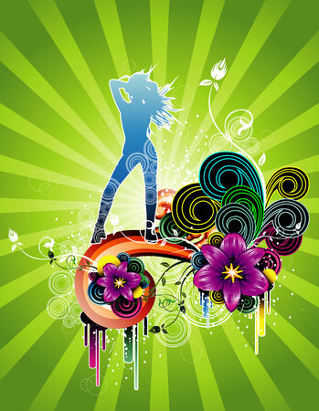 vector fashion and flower illustration Vector