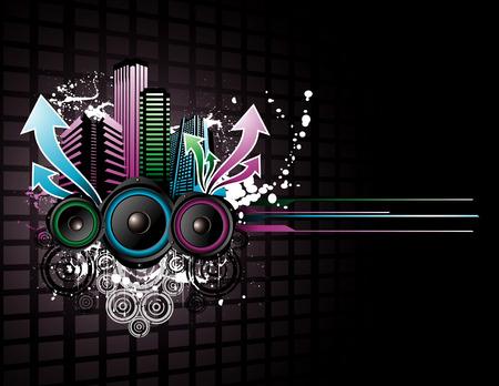 vector music city illustration Vector