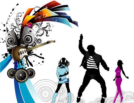 bass guitar women: party illustration