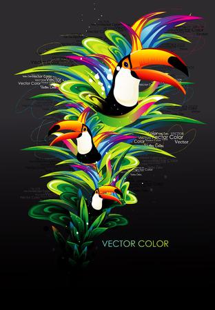 toekan: vector vogel illustratie Stock Illustratie