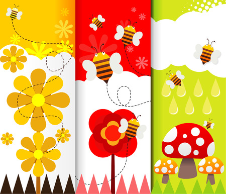 bee garden: background illustration