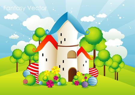 cartoon landscape illustration Vector