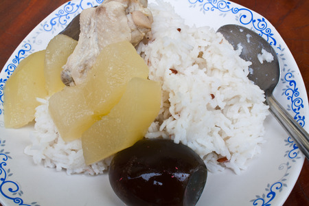 dried gourd: Bottle Gourd Soup with Roasted Dried Chicken Blood and Century Egg
