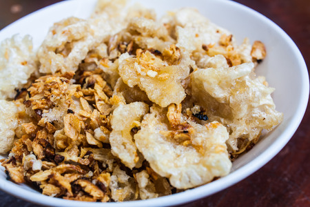 rind: Crispy Pork Rind Fry with Garlic and Salt Stock Photo