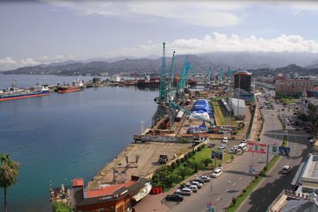view of the seaport in Batumi, Georgia