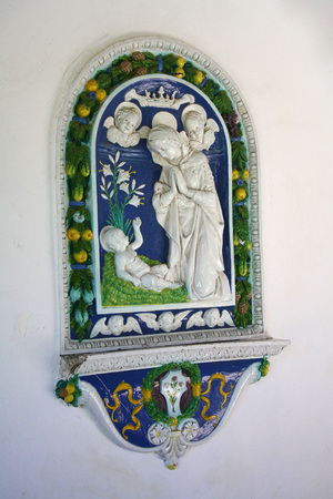 Romanian royal castle in Balchik, Bulgaria. The icon is made of porcelain with the Savior and Mother Mary Editorial