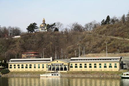 Prague, Czech Republic - April 08, 2013: Thai restaurant on the riverside of the Vltava River