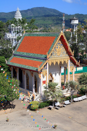 13 February 2019, Wat Chalong, Phuket, Thailand. Hall of initiation Wat Chalong or Wat Chantharam. Editorial