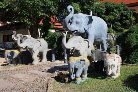 Hall of initiation Wat Chalong or Wat Chantharam. Statue of elephants Stock Photo