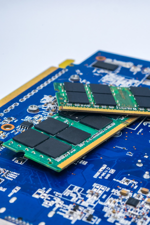Technology computer processors circuit board and sd ram memory Stock Photo