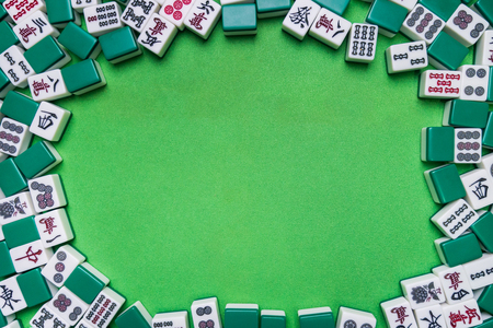 Full of Mahjong tiles  the chinese korea japanese game on Green background