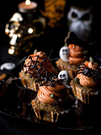 Halloween Party Bakery Table with  Cupcake Muffin and cookies.