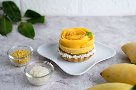 Mango Mousse tart with sticky rice and fresh mango.