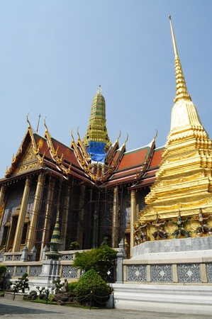 The renovating church of Wat Phra Kaew with Chedi photo