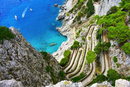 A spectacular view from the gardens of Augustus to Capri in Italy