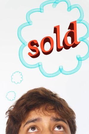 daydream: half head of man that daydream about something had sold, on white background, vertical Stock Photo