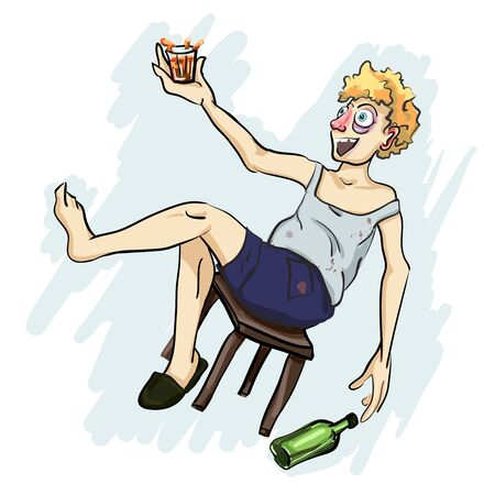Happy alcoholic holding a glass vector illustration. Ilustração