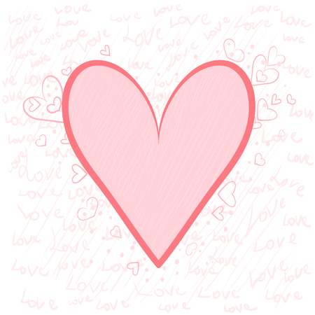 Greeting spring card with a composition of hearts on a white background
