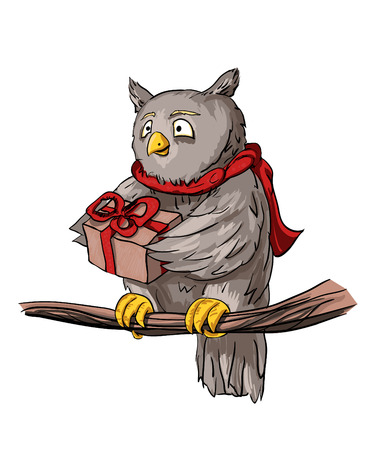 Owl in a scarf that holds out a gift, shes kind and sweet