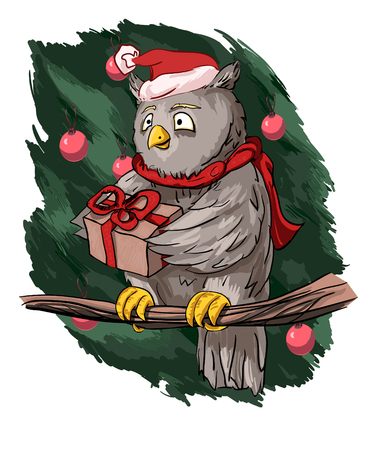 Greeting card for Christmas or New Year, on which a cartoon cute owl holds out a gift