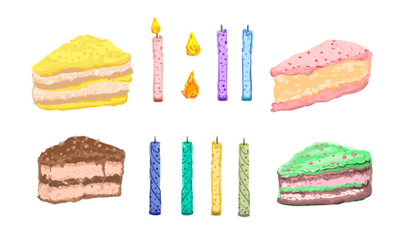 A collection of pieces of colorful and delicious cakes with candles for making wishes and a spark to light them. Vector set of bright attractive pictures