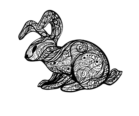 Abstract vintage black and white book illustration of a rabbit that can be printed on postcards, T-shirts, bags or applied as a tattoo or background.