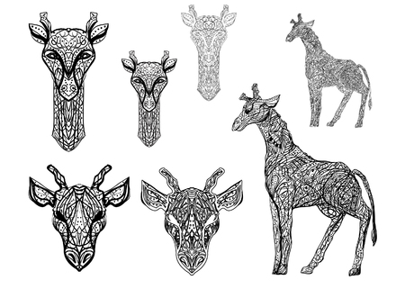 A set of decorative black and white abstract giraffes for printing on T-shirts, bags, fabrics, wallpaper, as well as for tattoos and stickers