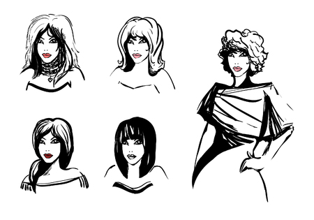 Stylish black and white vector images with girls who have different hairstyles. In the set is also drawn a silhouette of a girl with curls in clothes. A picture for fashion magazines, trend editions, for illustrating haircuts in hairdressing salons and beauty salons.