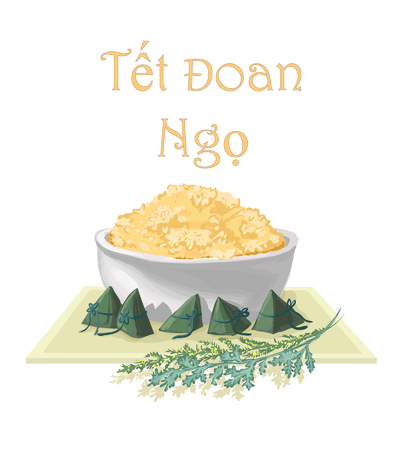 Postcard for Tet Doan Ngo - isolated vector image of glutinous rice in a bowl on a tray with wormwood on a white background for printing, for web sites, for holiday greetings in Vietnam.