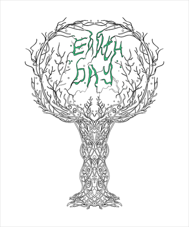 Vector world earth day - tree and green text on a white background. A social postcard that reminds people about the need to protect nature.