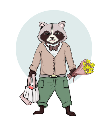 Cartoon cute humanized raccoon on a white background in fashionable clothes with flowers and gifts for the sweetheart - vector greeting card.