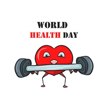 世界保健デー - 白い背景に健康を改善するためにスポーツや運動に従事している赤い心臓のベクトル組成、そしてその上にテキストです。はがき、