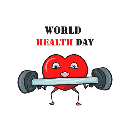 World Health Day - on a white background a vector composition of a red heart that is engaged in sports and  exercises to improve health, and above it is text. Printable picture on postcards, web greetings