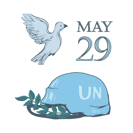 A postcard by May 29 is the international day of the United Nations of peacekeepers. Flying dove of peace, blue helmet of military defender and branch - isolated on white background.
