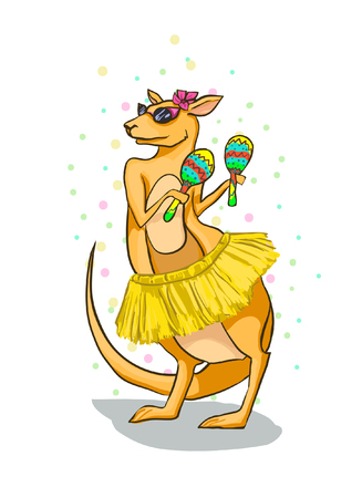 Kangaroo with maracas on a white background. Australian Animal - vector greeting card for the festival. Confetti, female, sweet, marsupial, happy, carnival.