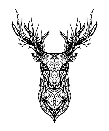 Black and white vector linear ink logo isolated head of a deer on a white background. Printing on postcards, stylish business cards, stickers, clothes, T-shirts.