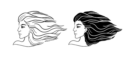 Vector stylish original hand-drawn graphics portrait black and white head logo on white background beautiful young attractive girl model with hair flying in the wind for beauty salons, hairdressers. Fashion, style, beauty