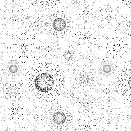Seamless floral decorative geometric trendy classic classic black and white pattern for printing on cards, clothes, fabric, paper, wallpaper, backgrounds, textures, covers, wrappers.