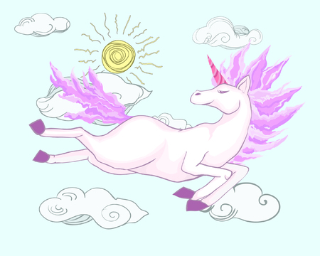 Magic fantasy pink unicorn flies happy on a cloudy sky, basking in the sun - vector image for print on postcards, stickers, for web pages and books. Illustration