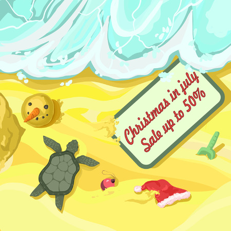 Merry Christmas and a Happy New Year in July - vector sunny postcard. EPS8. The turtle crawls on the sand, the snowmans head lies, the Santa Claus red hat and the announcement of discounts and sales