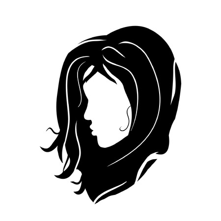 logo girl model brunette head on white background - silhouette haircut vector stylish hand drawn graphics portrait. Beautiful, young, attractive. Beauty salons, hairdressers, fashion.