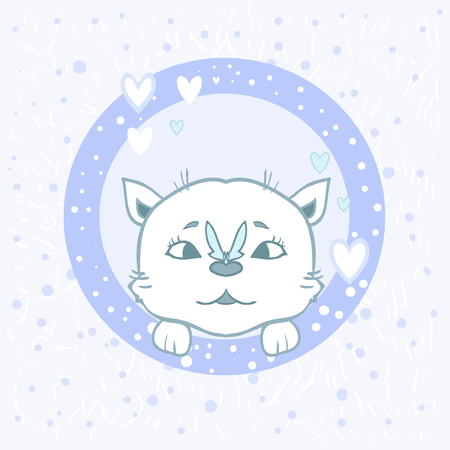 Sticker cat with a butterfly - nice cartoon. Cute card boy kitten paws. Hearts on a blue background. Printing on fabric, paper, posters, children's books Vectores