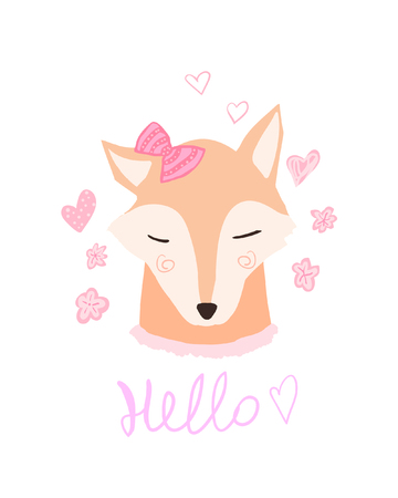 Cute fox cartoon. Lovely, Hello spring. Baby animal card. Fox in bow vector print greetings postcard. Hipster girl Illustration