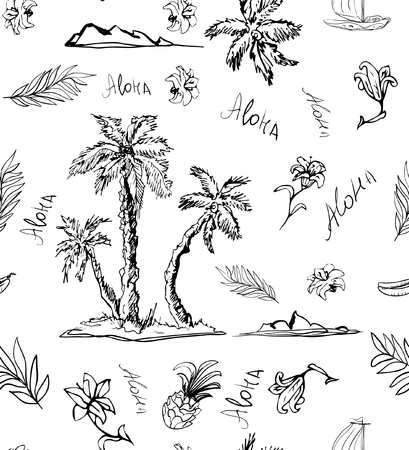 Trendy Seamless floral pattern on white background. Landscape with palm trees, beach and ocean. Seashore beach with palm trees. Print cloth, paper, wrapper