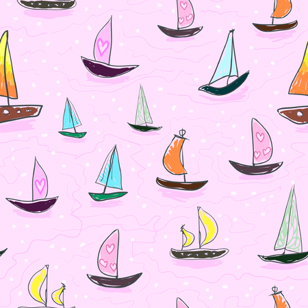 Seamless baby kids pattern Hand drawing colorful yachts vector. Many small colored sail boats on a pink background. Flat style illustration. Summer, vacation, travel, heat, paradise. Print mask paper