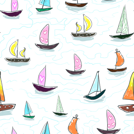 Seamless baby kids pattern Hand drawing colorful yachts vector. Many small colored sail boats on white background. Flat style illustration. Print mask paper
