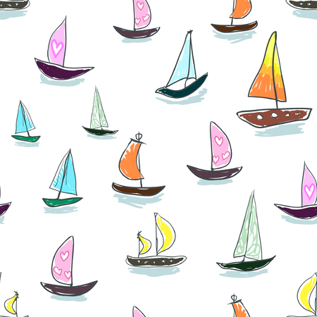 Seamless baby kids pattern Hand drawing colorful yachts vector. Many small colored sail boats on white background. Flat style illustration. Summer, vacation, travel, heat, paradise. Print mask paper