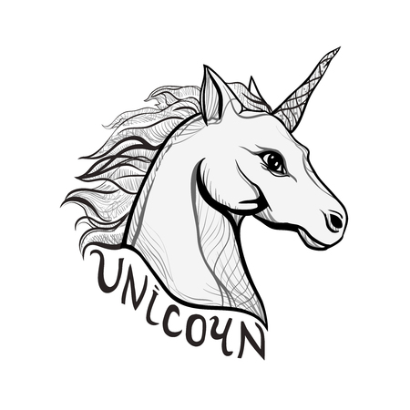 Unicorn Vintage style beautiful gothic. Character tattoo design artwork for print sketchbook cover, fabric textiles. Isolated vector illustration. Retro music cover, summer t-shirt, sticker text. 向量圖像