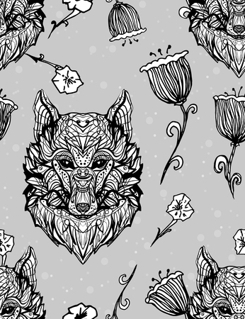 Wolf Vintage style gothic seamless pattern. Character tattoo design artwork for print sketchbook cover, fabric textiles. Isolated vector illustration. Floral animal cover, summer t-shirt, sticker.