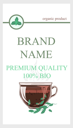 Herbal Tea Packaging Branding with Cup of tea Mint leaves. Eco Cover wrap for mint leaf tea, dried ingredient. Tea Brand Element for design template flyers, gift cards, invitations and brochures.
